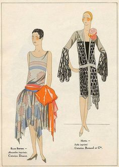 Art-Goût-Beauté illustration from 1927 featuring a robe de style by Doucet and a lovely tulle gown by Bernard et Cie.