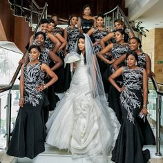 HQ @myafrocaribbeanwedding -  We can't get enough of these #AfroCaribbean community of the super duper stunning #AfricanQueen and the Slay #Bridetribe. Just how stunning is the Bride in her Dress and oh my the #Bridesmaids ain't here to play either in 2nd pic. They came to make a statement that we can rock black #bridesmaidsdresses in style for weddings. . Mehn this wedding had it all. Congrats to the Beautiful couple May God almighty bless you both as you embark on your new chapter ahead…
