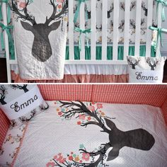 Large Deer Head Crib Bedding baby girl coral bedding peach coral and mint deer head going stag floral antlers fawn doe - Paisley Baby Name - Ideas of Paisley Baby Name - Coral and Mint Flowery Buck Crib Set Baby Bedroom, Baby Boy Rooms, Girl Rooms, Girl Nursery, Deer Nursery, Nursery Grey, Woodland Nursery, Everything Baby, My Baby Girl