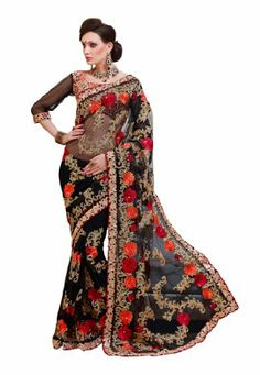 #IndianDesigner Net Black #EmbroidereddesignerSaree with multi colors floral thread designs