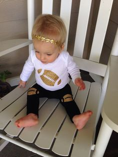 Toddler or baby football outfit with Football leggings and onesie by OliveandBirdie on Etsy