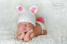 Crochet Easter Hat and Diaper Cover.