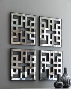 Antique silver leaf with black undertones and antique mirrors wall