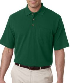 8534 Ultraclub Adult Classic Pique Polo With Pocket Forest Green