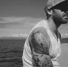 Gorgeous Grey Surf Waves Tattoo Male Arms
