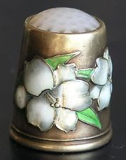 Antique David Andersen 925 Floral Enamel Sterling Silver Jade Stone Top Thimble