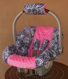 Baby car seat cover, girl car seat cover, Infant carseat cover, Paisley with Hot Pink Minky Dot, Ships Today. $75.00, via Etsy.