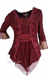 AP Tory Victorian Blouse In Dark Red