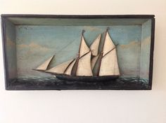 1860-1870 Ship Diorama / Shadowbox with wonderful surface and form     PRETTY !