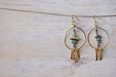 Pyrite and Turquoise Beaded Fringe Earrings by MichellesMarket, $28.00