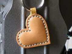 Leather Key ring Heart Handstitched Brown Ring charm by takakutsu
