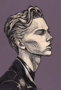 The line art in this illustration are so expressive and outline different features of the man in a creative way that i find magnificent. Art Sketches, Art Drawings, Drawing Portraits, Sketches Of Boys, Animal Drawings, Art Inspo, Art Inspiration Drawing, Art Du Croquis, L'art Du Portrait