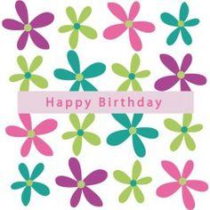 """Fairtrade verjaardagskaart met zestien vrolijke bloemen en de tekst """"Happy Birthday""""  Geproduceerd door Craft Aid op Mauritius volgens de fairtrade normen. Craft Aid biedt werkgelegenheid aan 223 medewerkers, waaronder vele gehandicapten.  Witte achtergrond met zestien bloemen van frisse kleuren  Met envelop"""