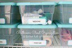 Bathroom Organization via A Bowl Full of Lemons