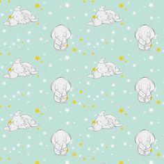 "Disney Fabric / Nursery Fabric: Disney Dumbo Fabric Starry Night Napping elephant 100% cotton fabric by the yard 36""x43"" (E67)"