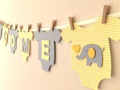 gender neutral baby shower decorations Baby One-Piece Bodysuit quot; Gender Neutral Baby Shower Banner: Yellow and Gray Elephant Baby Shower Decoration Deco Baby Shower, Fiesta Baby Shower, Baby Shower Yellow, Shower Bebe, Gender Neutral Baby Shower, Baby Shower Themes, Baby Boy Shower, Baby Gender, Shower Ideas