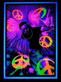 "UV Schwarzlicht Poster ""DJ Peace"" #blacklight #schwarzlicht #wallpaper #neon #dj #peace #psy #deco"