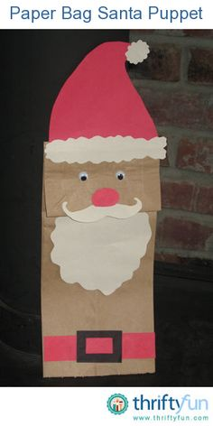 This paper bag Santa puppet is a simple craft. It's great to do with kids.