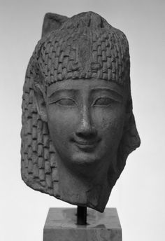 Head of Isis or Queen as Isis  circa 360 - 300 B.C.  Late Period - early Greco-Roman  Limestone