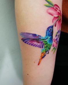 Pretty Tattoos, Love Tattoos, Beautiful Tattoos, Body Art Tattoos, Small Tattoos, Tattoos For Women, Hummingbird Flower Tattoos, Hummingbird Tattoo Watercolor, Pastell Tattoo