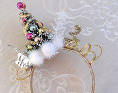 christmas headband women christmas tree headband by TinseledTiara Christmas Tree Headband, Christmas Hair, Gold Christmas, Christmas Holidays, Ugly Christmas Sweater, Christmas Crafts, Christmas Decorations, Christmas Headpiece, Xmas