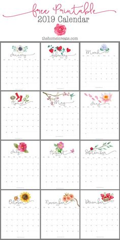 Easy to print at home free pretty 2017 monthly printable calendar. Calander Printable, Calendar 2019 Printable, 2019 Calendar, Printable Planner, Free Printables, Monthly Calender, Free Calendar, Print Calendar, Desk Calendars