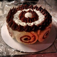 Raspberry cake roll with bavarian cream filling, and a chocolate ganache and whipped cream topping. Bavarian Cream Filling, Raspberry Cake, Chocolate Ganache, Whipped Cream, Rolls, Baking, Desserts, Food, Tailgate Desserts