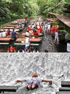 Dine at the base of a waterfall in the Philippines - Waterfalls Restaurant at Villa Escudero, Quezon Province, Philippines Outdoor Restaurant Design, Park Restaurant, Istanbul Restaurants, Unique Restaurants, Cool Places To Visit, Places To Go, Water House, Cool Cafe, Beach Bars