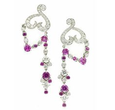 FD GALLERY | Van Cleef & Arpels | A Pair of Pink Sapphire and Diamond 'Birds of Paradise' Ear Pendants