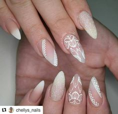 What manicure for what kind of nails? - My Nails Nail Art Designs, Lace Nail Design, Bridal Nails Designs, Orange Nail Designs, Bridal Nail Art, Wedding Nails Design, Lace Wedding Nails, Gold Wedding, Wedding Designs