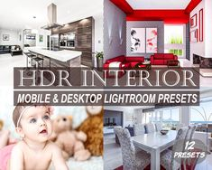 HDR Interior Mobile and Desktop Lightroom Presets, 12 Indoor Presets Edit Your Photos, Studio Lighting, Children And Family, Photo Backgrounds, Color Correction, Hdr, Lightroom Presets, Photo Editing, Desktop