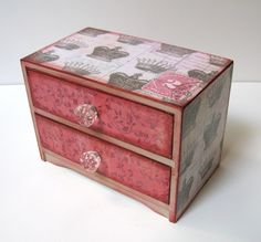 Vintage Crown Two Drawer Trinket Box