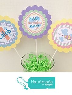 3 - Centerpieces or Cake Toppers - Oh The Places You'll Go Inspired Happy Birthday Collection - Pastel Purple Chevron, Green Stripes & Yellow, Blue and Pink Accents - Party Packs Available from Emerald City Paperie http://www.amazon.com/dp/B01BHQH7G0/ref=hnd_sw_r_pi_dp_0Zn5wb0MPHEX7 #handmadeatamazon