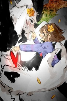 Asriel and Frisk >>> I cried when the Asriel fight came because they were such a good villain OMG.
