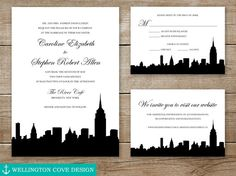 New York City Skyline printable Wedding Invitation Suite. Manhattan as seen from Brooklyn NYC. #DIY by Wellington Cove Design