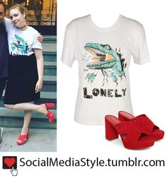 Buy Lena Dunham's Dinosaur T-Shirt and Red Suede Sandals, here!