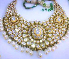 Zevar | emporium | Diamond Polki Jewellery | Traditional | Indian | Bridal | Wedding | Kundan Meena | 22ct Gold #GoldJewelleryKundan