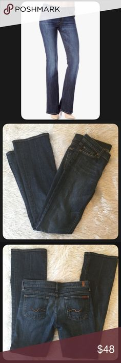 """🆕7 for All Mankind Boot Cut Jeans 7 for all Mankind boot cut jeans, GUC. Selling for a friend she wore these about 3 or 4 times. They are in great shape. The very bottom is a little frayed (bottom hem) from being too long, can't tell when wearing & normal for jeans. See photos. Inseam 33"""", rise, 8"""", waist lying flat and not stretched 16 1/4"""". Size29. Classic boot cut design. GUC. 👖 7 For All Mankind Jeans Boot Cut"""