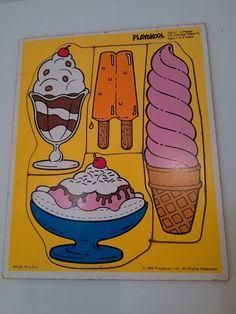 Vintage Playskool ICE CREAM TREATS Tray Puzzle 180-07 4 pieces 1-3 years 1986 #playskool