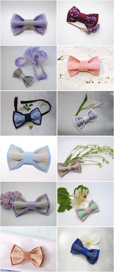 Embroidered bow ties