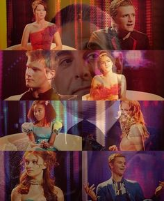 The Interviews. Katniss, Peeta, Cato, Clove, Rue, Glimmer, Foxface, and Marvel.