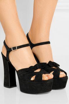 black candy suede platform sandals