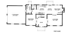 Traditional Style House Plan - 4 Beds 3 Baths 2222 Sq/Ft Plan #12-121 Main Floor Plan - Houseplans.com