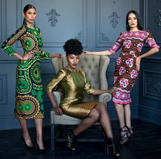 Kaela Kay 's new collection is now available. Vibrant colors, geometric patterns and neat design for women African Dresses For Women, African Women, African Clothes, African Fashion Designers, Ghanaian Fashion, African Design, High Fashion, Fashion Dresses, Glitter