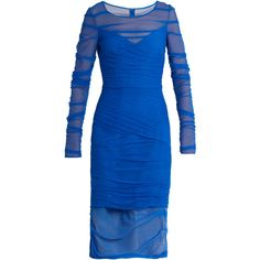 Versace Ruched tulle dress ($949) ❤ liked on Polyvore featuring dresses, blue, shirred dress, wrap dresses, scrunch dress, rouched dress and versace