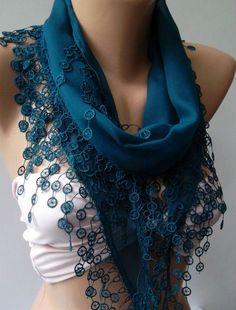 Turquoise   Blue- Elegance Shawl / Scarf with Lace Edge.