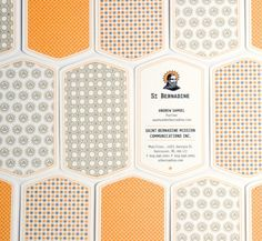patterned business cards.