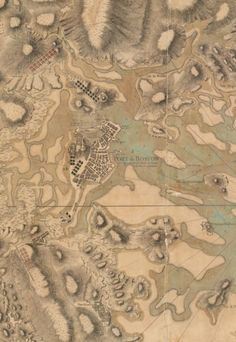 """The Port of Boston, by Jean de Beaurain, 1776 - """"This very rare German war plan of Boston and vicinity is an unusually fine topographic map. Its physical relief is symbolized by elaborately engraved hachures. A printed legend refers to the number and caliber of artillery and the location of troops that were situated in the city. The British and American units are shown in considerable detail."""" - http://maps.bpl.org/id/m8655"""