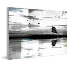 Parvez Taj - 'Lone Lake Tree' Painting Print on White