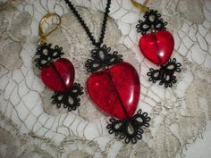 Tatted Lace Valentine Earrngs and Necklace